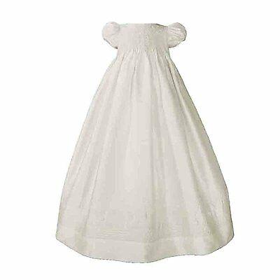 Girls White Silk Dress Christening Gown Baptism Gown with Smocked Bodice 6M