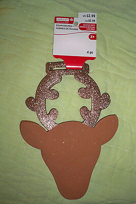 """Foam Shapes*8"""" Reindeer Head with Glitter Antlers*4-pack"""