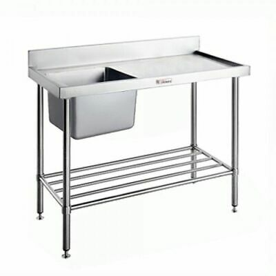 Simply Stainless Single Sink Left Bowl with Pot Rail & Splashback 2100x600x900mm