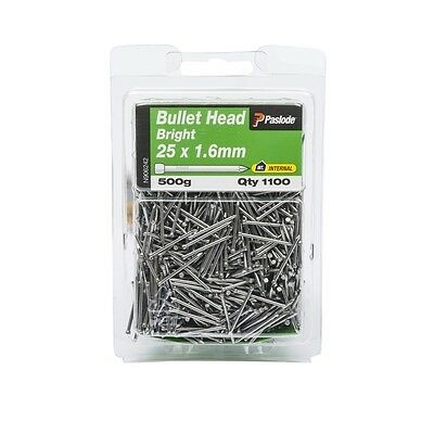 Paslode 25 x 1.6mm 500g Bright Steel Bullet Head Nails - 1100 Pack