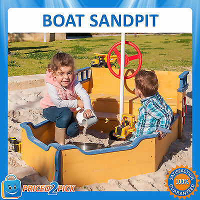 Kids Childrens Boat Shaped Sandpit Sand Play Pit with Steering Wheel & Flag