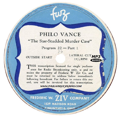 Philo Vance (97 Shows) Old Time Radio Mp3 Cd