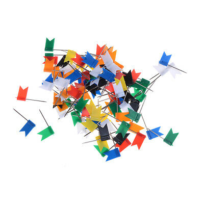 100pcs Flag Push Pins Office Home School Supplies Cork Board Map Drawing
