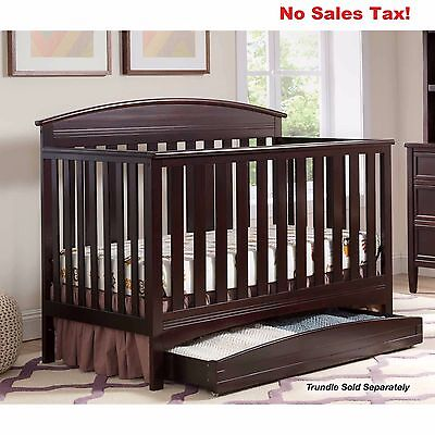 Baby Convertible Crib 4 in 1 White Dark Chocolate Grey Nursery Daybed Furniture