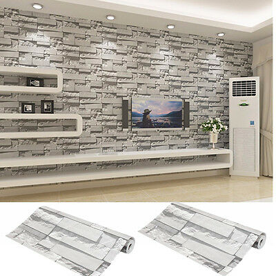 2PCS 3D Wallpaper Bedroom Mural Roll Modern Stone Brick Wall Background Textured