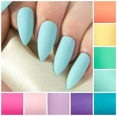Matte Pastel Stiletto Fake False Faux Artificial Glue Press Stick On Nails