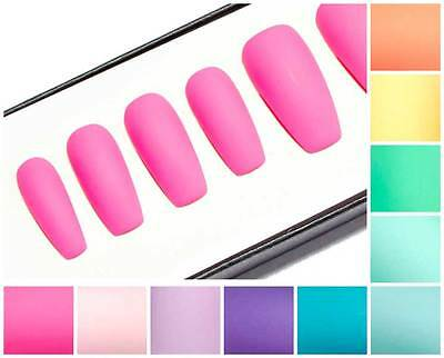 Matte Pastel Coffin Shape Fake False Faux Artificial Glue Press Stick On Nails