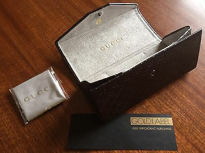Glasses Case, GUCCI, Brown, Leather, Folding, Small, Hard, Unisex With Cloth NEW