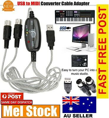 New USB INOUT MIDI Interface Converter Cable to PC Music Keyboard Adapter Cords