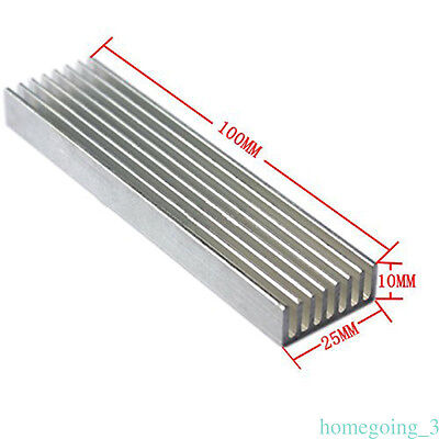 Cooler Aluminium Cooling Heatsink Chip 100*25*10mm fr LED Power Transistor 1 pcs