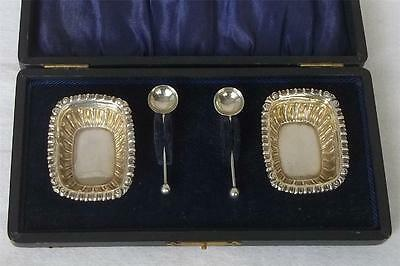 Pair Of Cased Solid Sterling Silver Edwardian Open Salts & Spoons Dates 1905.