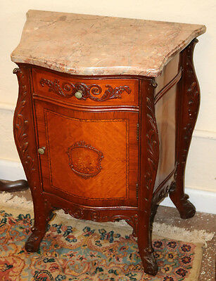 Single French Marble Top Satinwood Inlaid Night Stand Table Nightstand Restored