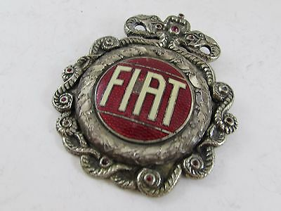 Antique rare FIAT Italy  VINTAGE ORIGINAL ENAMEL EMBLEM snake very unusual
