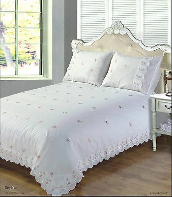 Sophie Bedding Range Duvet Cover White Cream Floral Design