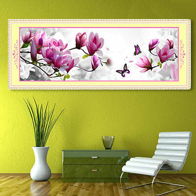 5D Embroidery Butterflies Magnolia Round Diamond Painting Cross Stitch Kits YT
