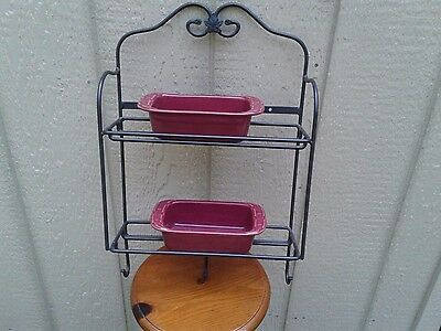Longaberger Wrought Iron Wall Rack with 2 Woven Traditions loaf pans in Paprika