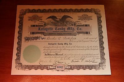 Lafayette Candy Mfg. Co. 10 Shares  Stock Certificate 1922 Mi #12