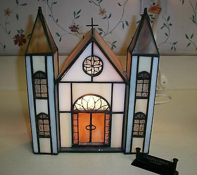 Stained Glass Two Spire Church with Forma Vitrum Church Sign     with Box