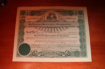 Gallarneau-Harrington 20 Shares  Stock Certificate 1912 Mi #6