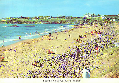 Old postcard : Spanish Point, Co.Clare, Ireland with rocks and sands - SUPER