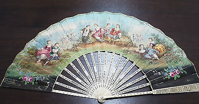 Antique Handfan 19TH CENTURY WITH PAPER (Hand painting) DOUBLE FACE
