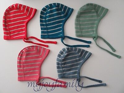 HANNA ANDERSSON Organic Cotton Striped Pilot Cap Red Blue Green Pink XS S M NWT