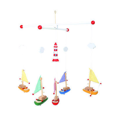 Colourful Wooden Toy Baby Hanging Nursery Sailing Yachts Boats Sea Fish Mobile