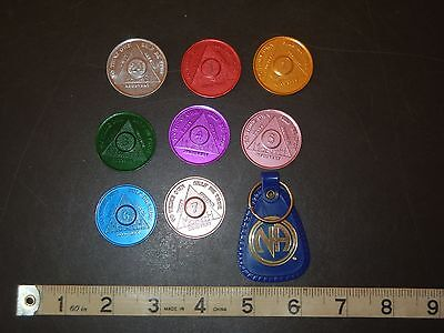 aa alcoholics anonymous lot of 7 sobriety chip coin token medallion & key chain