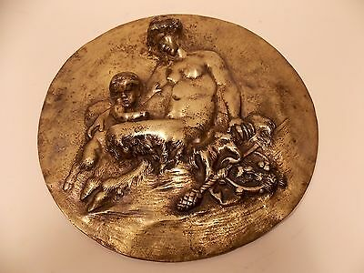 After Clodion Satyresses and satyr boys mithological gods Solid Bronze plate #2