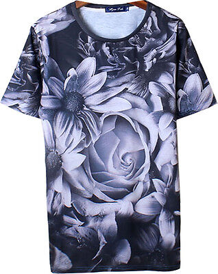 Unisex 3D Digital Graphic Rose black-and-white photo Print SHORT SLEEVE T SHIRTs
