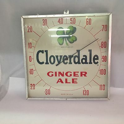 Vintage Cloverdale Ginger Ale Square Thermometer 448-D