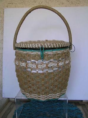 Antique Edwardian Victorian Large Barrel Wicker Ribbon Sewing Basket