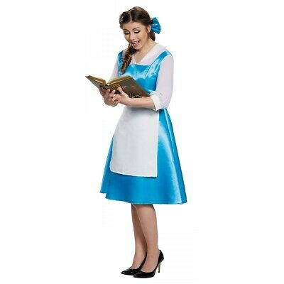 Belle Costume Adult Blue Dress Beauty and The Beast Halloween Fancy Dress