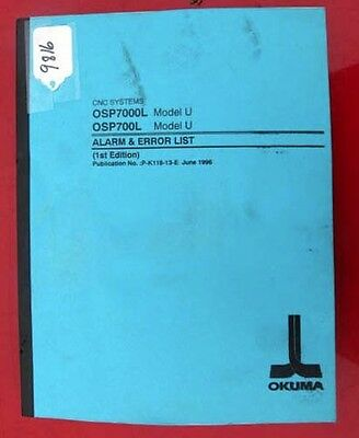 Okuma CNC Systems Alarm & Error List: For OSP7000L P-K118-13-E Inv. 9816