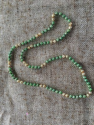 Vintage Mardi Gras Necklace,Feather Tree Garland Green, Gold Mercury Glass Beads