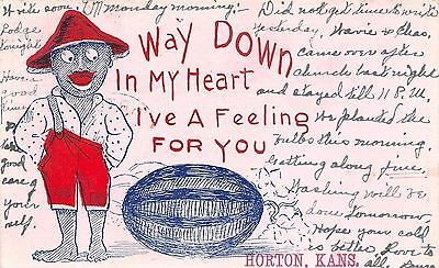 A Feeling For You in Horton Kansas~Black Americana~Boy Eyes Watermelon~1907 PC