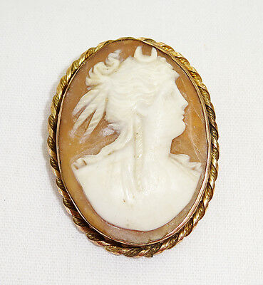 Vintage Gold Colored Oval Shell Cameo w. Pretty Maidens Profile Motif (Wel)
