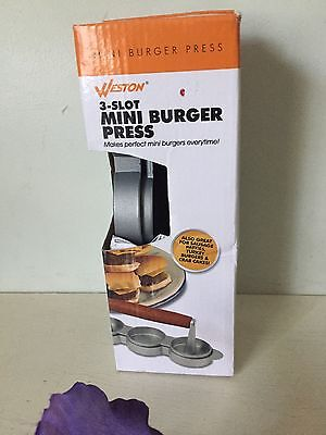 Burger Press Patty Maker Slider Nonstick Coating Wood Handle Kitchen Tool 3 Slot