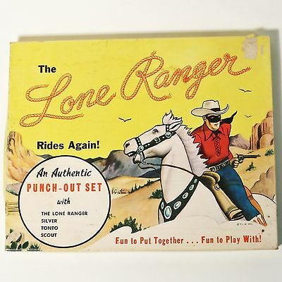 """Rare Vintage  1940's """"The Lone Ranger Punch-Out-Set with Original Box"""