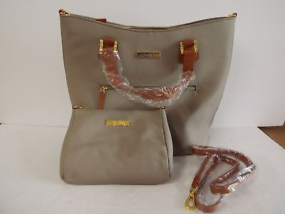 JOY & IMAN Alexandria Leather Tote and Crossbody-Taupe- NEW