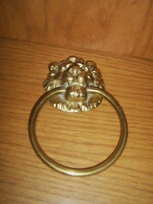 Vtg antique style solid brass lion head door knocker
