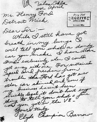 1934 Clyde Barrow Henry Ford Letter Factory Photo Bonnie & Clyde ca7571