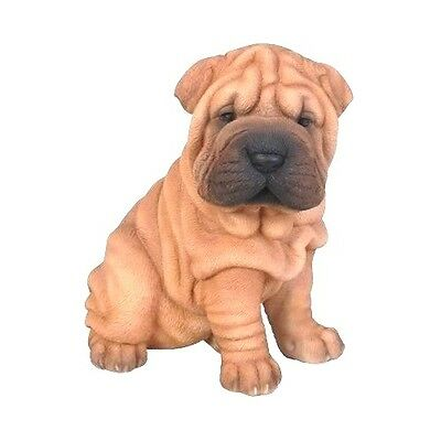 Sitting Shar Pei Puppy Dog Life Like Realistic Statue Figurine Home Garden Decor