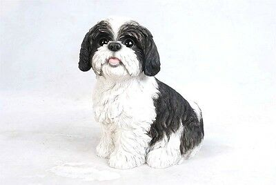 Shih Tzu Adult Black  Dog Life Size Realistic Life Like Statue Home Garden Decor