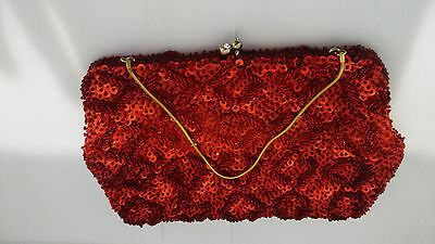 Vintage Red Beaded Sequin Evening Bag Purse Walborg Handbag