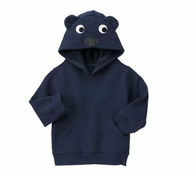 Nwt Gymboree Boys Hop 'n' Roll Blue Bear Hoodie Pullover Sweater 2T 3T 4T