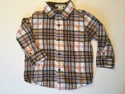 Janie And Jack Plaid Shirt Long Sleeved Brown And White Size 18-24 Months