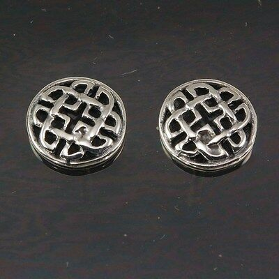 Handcrafted Sterling Silver 925 Round Celtic Knot Stud Silver Earrings