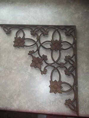 Antique Cast Iron Ornate Floral Corner Eave Bracket Estate Find 14""