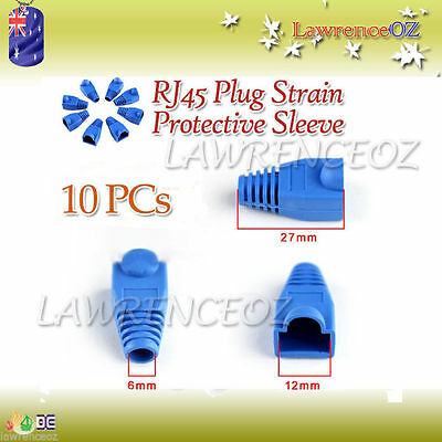 10x RJ45 Network Cable Plug Boots Cap Protective Sleeve Cat5 Cat6 - BLUE